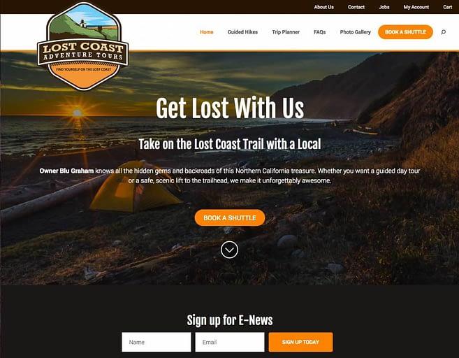Lost Coast Adventurer Tours home page screenshot