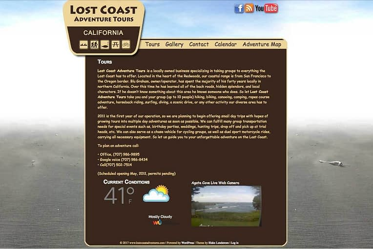 Lost Coast Adventure Tour old website screenshot