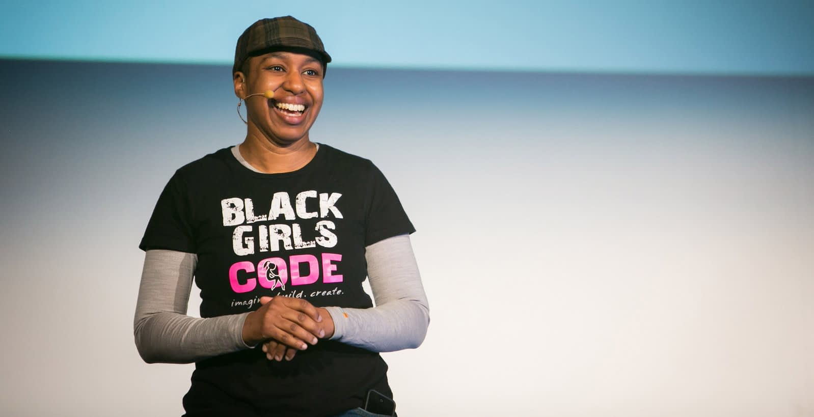 Kronda Adair speaking at the first Lesbians Who Tech conference in 2014