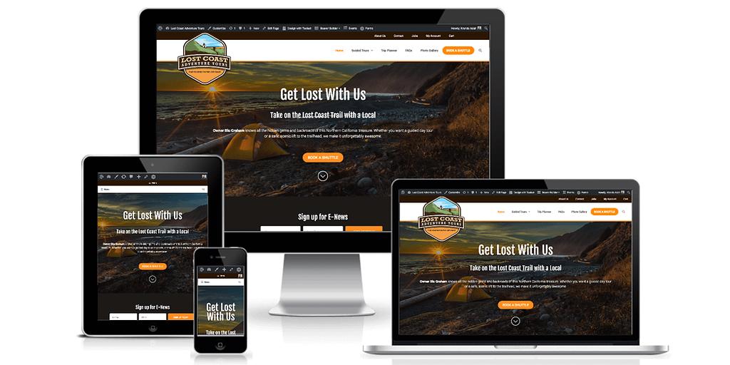 Lost Coast Adventure Tours website screenshots